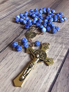 Excited to share this item from my shop: Handmade matte blue spotted jasper rosary Catholic Jewelry, Rosary Catholic, Paracord Rosary, Lilo Und Stitch, Gold Book, Holy Rosary, Amber Beads, Rosary Beads, Moonstone Pendant