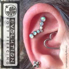 Healed #daith piercing and two fresh deep #helixpiercing 's with #opal and #titanium jewelry by #anatometal (at Evolution Body Piercing)