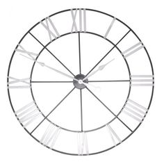 Large Metal Skeleton Wall Clock with Silver NumeralsMade from metal and battery powered finished with silver numerals.This clock measures over a meter long, to be exact, it's a large wall clock.