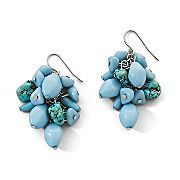 Turquoise and light blue chip earrings.