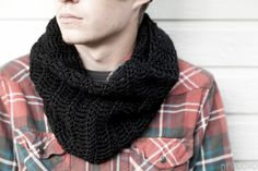 Men's Cowl Scarf  Made To Order Black Cowl Scarf  Men's by DiNuovo