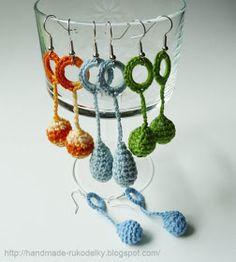 MY HAND MADE STUFF - MOJE RUKODELKY: Crocheted Tear Drop and Balls Earrings - Free Pattern
