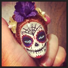 Day of the Dead Doll Sugar skull Keychain Dia by STAROSECREATIONS