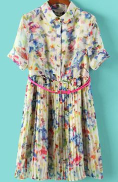 Multicolor Lapel Short Sleeve Floral Pleated Dress pictures