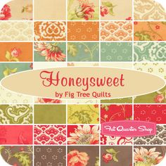 Honeysweet Charm Pack Fig Tree Quilts for Moda Fabrics - Fat Quarter Shop Easy Hand Quilting, Hand Quilting Patterns, Easy Quilts, Quilting Tutorials, Quilting Projects, Quilting Designs, Quilting Fabric, Tree Quilt, Quilting For Beginners