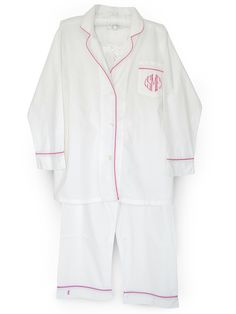 Classic white pajamas with azalea trim and monogram
