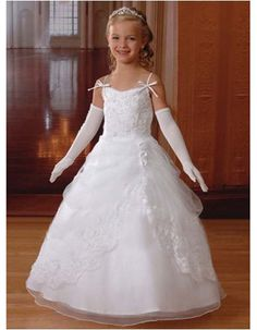 Bubble Skirt First Communion Dresses with Lace Jacket/ White Full Length Flower Girl Dresses