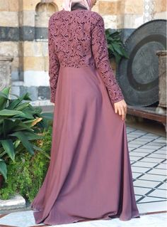 Embroidered Petals Gown Abaya Fashion, Muslim Fashion, Modest Fashion, Women's Fashion, Hijab Style Dress, Hijab Outfit, Abaya Designs, Dress Designs, Lace Bridesmaids