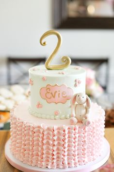 Pink+and+White+Bunny+Birthday+Cake