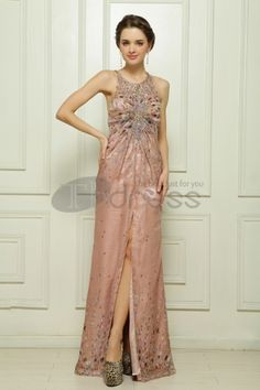 Tencel chiffon hand-beaded dark pink evening dress