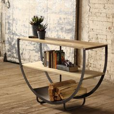 Semi-Circle Console With Two Wooden Shelves And Metal Bottom