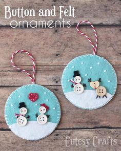 Felt Christmas Ornaments - Handmade Christmas Ornaments are so much to create during the holiday season. Here are Homemade Christmas Ornaments for Kids and Adults. They are broken down into felt ornaments, Christmas balls, country and rustic Christmas Felt Christmas Decorations, Christmas Ornaments To Make, Christmas Sewing, Christmas Diy, Christmas Balls, Rustic Christmas, Christmas Buttons, Snowman Ornaments, Button Ornaments