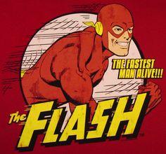 LOGOSH!RT - FLASH Der Rote Blitz DC Comics Retro Herren T-Shirt - THE FASTEST MAN ALIVE - ROT