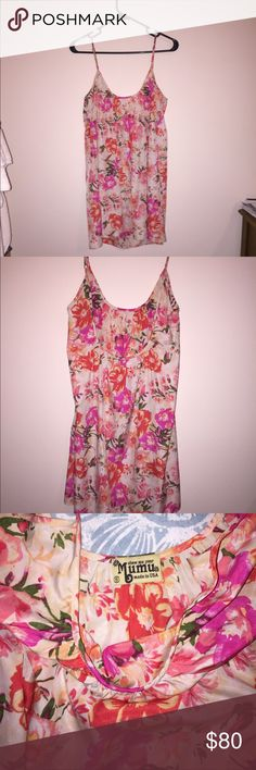 """Show me your Mumu sundress This is a real Show Me Your Mumu sundress and is a size small. I am 5'8"""" and it is much to short for me as shown in the last picture. Low back and new condition. Show Me Your MuMu Dresses Mini"""