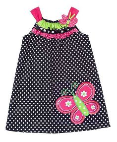 Rare Editions Black Polka Dot Pink BUTTERFLY Dress TODDLER Girls 2T-4T
