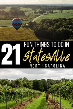 Ride in a hot air balloon, drink local beer, or pick muscadine grapes! These are all the fun things to do in Statesville, North Carolina! #travel #NC #NorthCarolina