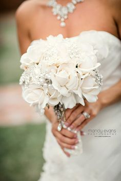 Ivory rose or white rose brooch bouquet with by MerryMeBouquets