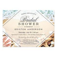284 best beach bridal shower invitations images on pinterest summer sandy beach starfish seashell bridal shower invitation filmwisefo