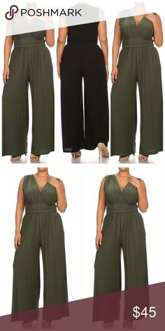 The Kimmie Jumpsuit Comfortable plus size jumpsuit. This simplistic jumpsuit is elegant and chic. You can definitely make a statement in this pant set. Wide leg, V neck, sleeveless jumpsuit provides comfort and style. Make a statement in this staple piece. Poly/Span blend. BOUTIQUE Pants Jumpsuits & Rompers