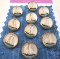 Vintage glass ship buttons