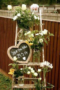 rustic cottage chic wedding decor ladder, chalkboard heart sign