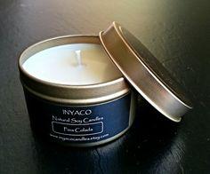 Pina Colada  /  Natural Soy Candle 6 oz Gold Tin www.inyacocandles.etsy.com