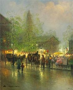 Harvey Art--Quincy Market by G. Harvey, a G. Harvey limited edition available from J Watson Fine Art 661 your source for G. G Harvey, Kinkade Paintings, Quincy Market, Norman Rockwell Art, Great Paintings, It Goes On, Light Art, Best Artist, American Art