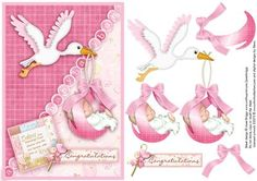 NEW BABY GIRL STORK topper and decoupage on Craftsuprint designed by Janet Briggs - New baby girl card front with step by step decoupage.Features cute stork and baby girl in bundle.Sentiment tags read 'Babies are blessings from above who fill our hearts with lots of love' and Congratulations.THIS IS ALSO AVAILABLE IN BLUE cup157429_68 and LEMON cup157522_68 - Now available for download!