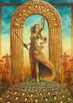 Justice Tarot Goddess Miniature Altar Art Nouveau by EmilyBalivet