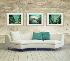 Teal Blue Travel Print Set set of 3 prints teal by LynnLangmade