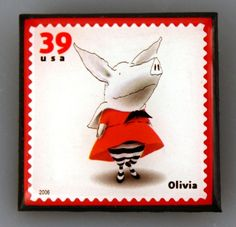 "USA, 2008. ""Favorite Children's Book Animals"" - Olivia postage stamp. Olivia is a fictional character in a series of children's books written and illustrated by Ian Falconer. The Olivia book series was inspired by Ian Falconer's niece, Olivia. ""I was just entranced by her,"" he stated. ""I wanted to make a little present for her, so I started working on the Olivia book."""