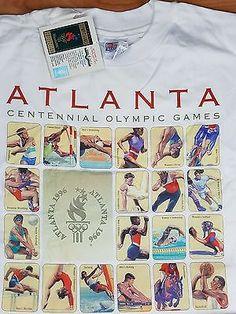 NWT 1996 Atlanta Olympics T Shirt USPS Postal Stamp USA  NEW - SEALED White