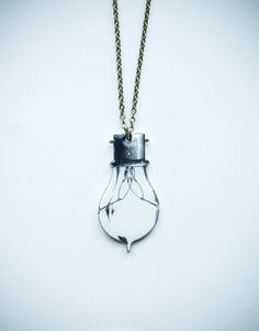 Light Bulb Necklace - Illustrative Art Antique Vintage Inspired / Shrinky Dink?