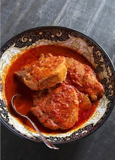 When I was growing up, this was often how we ate pork chops - simmered in tomato sauce and ...