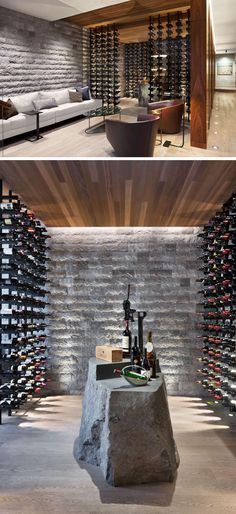 This modern wine cellar has glass walls, plenty of bottle storage, and a stone element that's been designed to be used as a table. modern Art And Views Were Carefully Considered In The Design Of This Canadian House Wine Cellar Modern, Wine Cellar Design, Wine Bar Design, Glass Wine Cellar, Wine Cellar Basement, Canadian House, Home Wine Cellars, Wine Tasting Room, Wine House
