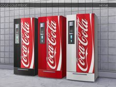 A fridge with the Coca-Cola brand in three colors, white, red and black, for your sim's kitchen. Found in TSR Category 'Sims 4 Large Appliance Recolors'
