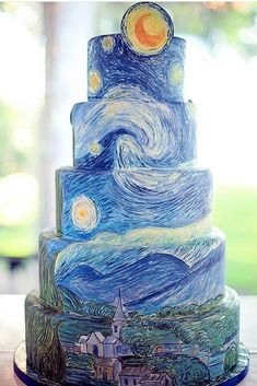 Starry Night Cake ~ Says: I loved creating this cake inspired by Van Gogh& Starry Night. It took over 30 hours to hand paint adding the brush strokes layer by layer to create the look of an oil painting. Crazy Cakes, Fancy Cakes, Gorgeous Cakes, Pretty Cakes, Cute Cakes, Unique Cakes, Creative Cakes, Amazing Wedding Cakes, Amazing Cakes