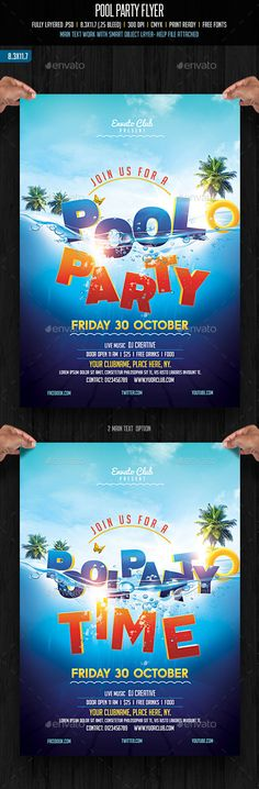 Pool Party Flyer Template Party flyer, Flyer template and Psd - pool party flyer template