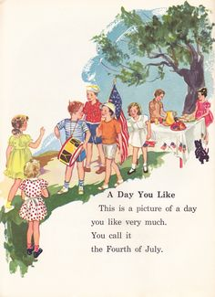 This of July Vintage Children's Page would look great framed on your buffet table this Independence Day! Vintage Children's Books, Vintage Cards, Vintage Images, Vintage Artwork, Vintage Postcards, Happy 4 Of July, Fourth Of July, Patriotic Crafts, God Bless America