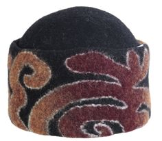 Handmade 100% wool felt hat with high lapel. Thanks to it suits almost to all. Ala Kiyiz technique (solid-felting, no stitches). Base colors: black, grey, or white; pattern colors: red/blue, orange/brick, or crimson/turquiose.