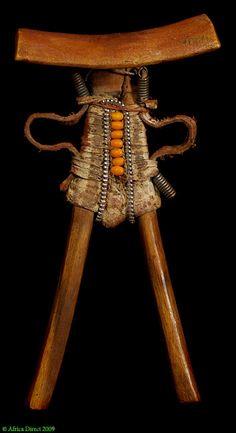 Pokot Headrest . Kenya. Wood, leather, beads, metal.