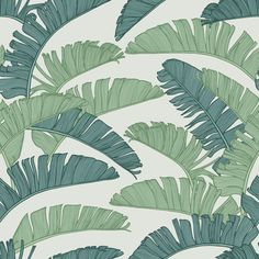 Summer Palm is a hand-illustrated design from Textile and Surface Designer Patricia Braune, whose natural evolution to these fields was self-evident. Vinyl Wallpaper, Print Wallpaper, Textured Wallpaper, Unique Drawings, Tropical, Fabric Textures, Hand Illustration, Art Director, Textile Design
