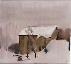 Gerard de Palézieux - Maisons sous la neige - Aquarelle
