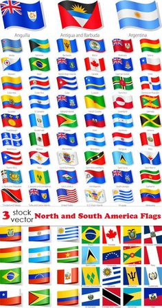 World flags on a map maps pinterest flags geography and vectors north and south america flags gumiabroncs Choice Image