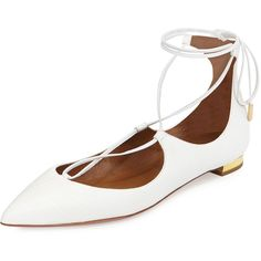 Aquazzura Christy Lace-Up Point-Toe Flat ($725) ❤ liked on Polyvore featuring shoes, flats, white, lace up flats, white leather flats, pointy toe flats, metallic flats and flat shoes
