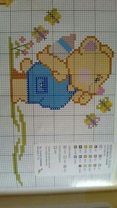 Urso mamadeira Funny Cross Stitch Patterns, Cross Stitch Designs, Cross Stitch Baby, Valentine Heart, Projects To Try, Crochet Patterns, Embroidery, Knitting, Crafts