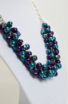 Purple and Teal Cluster Necklace Bridal Necklace by Eienblue