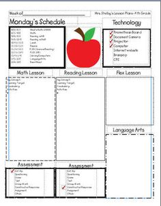 Lesson Plan Template:  has great lesson plan set ups that teachers can use in their classroom or to make copies of to send to parents so they can be up to date with what their kids are learning in the classroom each week.
