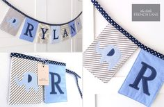 Personalised boys name bunting in Navy, Blue and Grey and Elephant motifs. on Etsy, $10.27