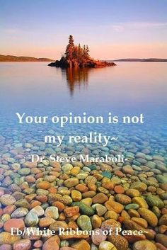 Your opinion is not my reality.  ~Steve Maraboli